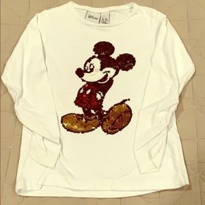Zara kids sequin Mickey Mouse long sleeved shirt
